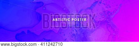 Abstract Fluid. Blue Pink Vector Motion. Digital Flow Poster. Alcohol Inks Paint Background. Modern