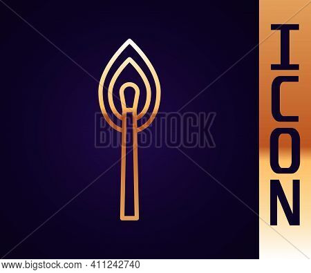 Gold Line Burning Match With Fire Icon Isolated On Black Background. Match With Fire. Matches Sign.