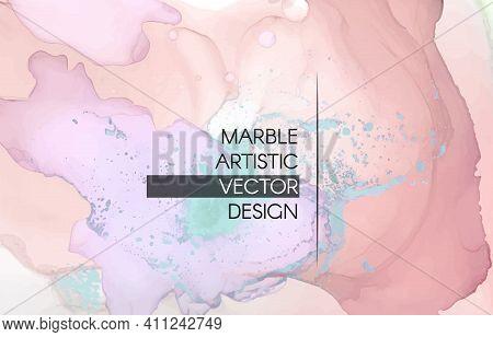 Fashion Alcohol Inks. Liquid Marble Paint. Acrylic Art Illustration. Trendy Elegant Card. Color Alco