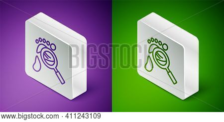 Isometric Line Magnifying Glass With Footsteps Icon Isolated On Purple And Green Background. Detecti