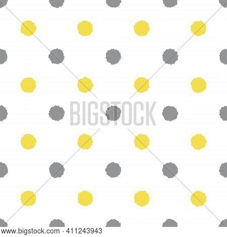 Colors Of Year 2021 Illuminating Yellow And Ultimate Gray Seamless Polka Dot Pattern, Vector Illustr
