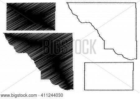 Woods And Texas County, Oklahoma State (u.s. County, United States Of America, Usa, U.s., Us) Map Ve