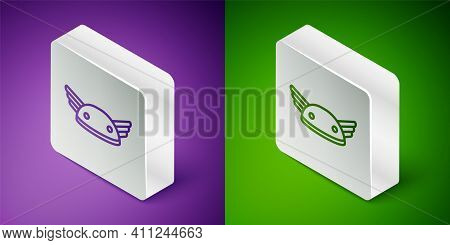 Isometric Line Helmet With Wings Icon Isolated On Purple And Green Background. Greek God Hermes. Sil