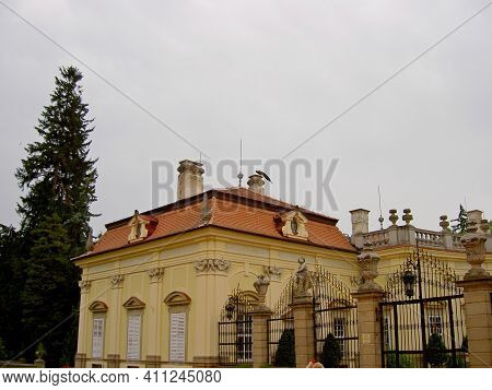 Buchlovice Chateau, View Of The Building And The Roof Of The Chateau, The Chimney On Which The Peaco