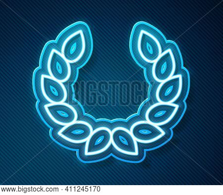 Glowing Neon Line Laurel Wreath Icon Isolated On Blue Background. Triumph Symbol. Vector