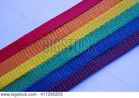 Lgbt Rainbow Ribbon On A White Background.rainbow Background.