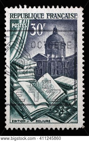 ZAGREB, CROATIA - SEPTEMBER 09, 2014: Stamp printed in the France shows Publishing and Binding, Industry series, circa 1954