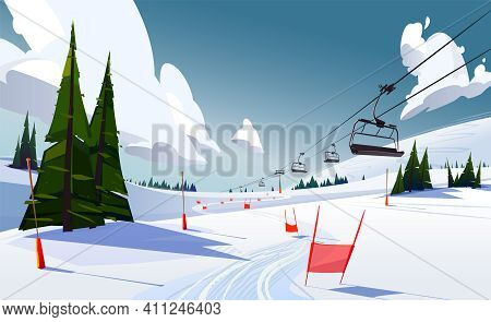Winter Mountains Panorama With Ski Slopes And Ski Lifts On A Sunny Day