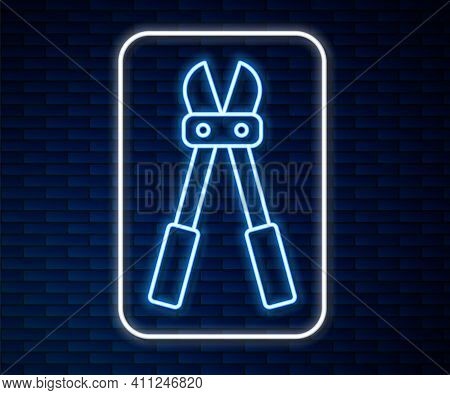 Glowing Neon Line Bolt Cutter Icon Isolated On Brick Wall Background. Scissors For Reinforcement Bar