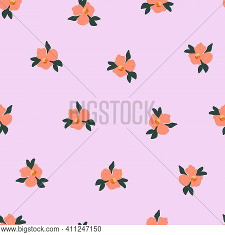 Ditsy Pansy Flowers Seamless Vector Pattern. Delicate Orange Small Scattered Flowers On A Pink Backg