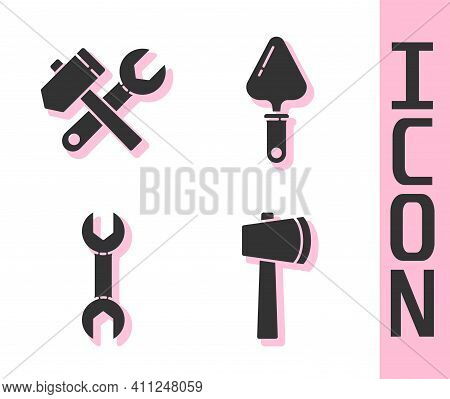 Set Wooden Axe, Hammer And Wrench Spanner, Wrench Spanner And Trowel Icon. Vector