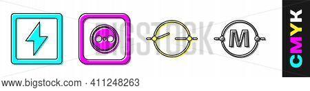 Set Lightning Bolt, Electrical Outlet, Electric Circuit Scheme And Electric Circuit Scheme Icon. Vec