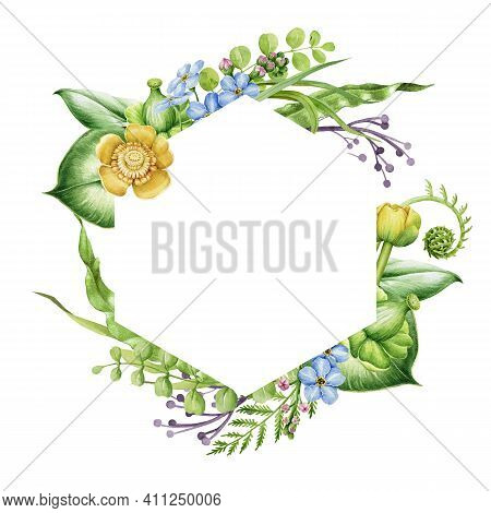 Spring Flower Frame. Bright Hand Drawn Lily Flowers In Decorative Banner. Watercolor Realistic Garde