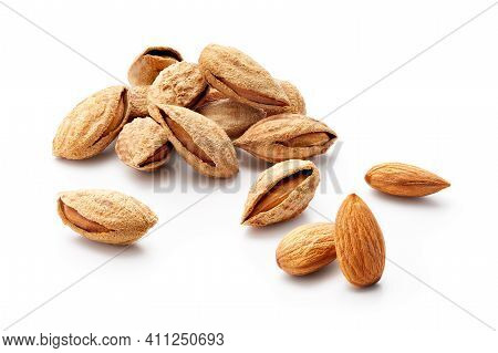 Group Of Almonds In Shell Isolated On White Background