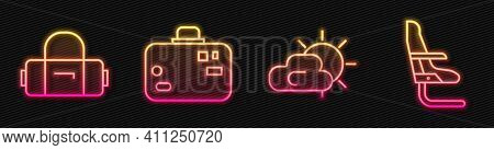 Set Line Sun And Cloud Weather, Suitcase, Suitcase And Airplane Seat. Glowing Neon Icon. Vector