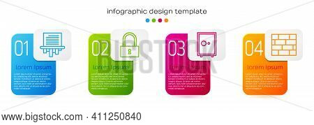 Set Line Paper Shredder, Lock, Safe And Bricks. Business Infographic Template. Vector