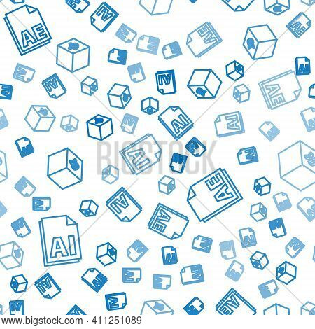 Set Line Ai File Document, Ae File Document And Isometric Cube On Seamless Pattern. Vector