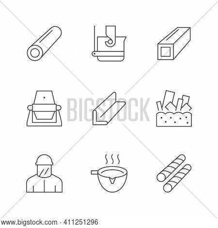 Set Line Icons Of Metallurgy Isolated On White. Industry Equipment, Metal Product, Employee Or Worke