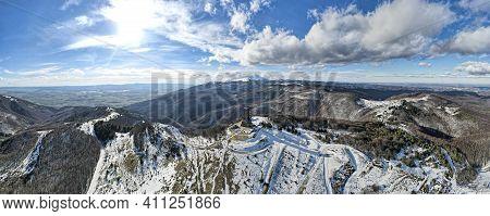 Shipka, Bulgaria - January 24, 2021: Aerial Panorama Of Monument To Liberty Shipka At St. Nicholas P