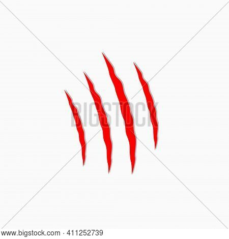 Red Scratches Animals. Claws Scratching The Cat. Vector Illustration On White Background