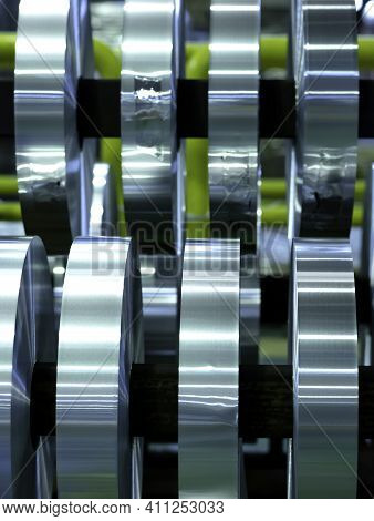 Coils Of Aluminum Foil After Sliting, Industrial Background