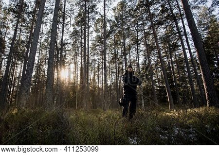 Man In Outdoor Winter Clothing With Survival Equipment In Middle Of Coniferous Forest. Morning Sun S