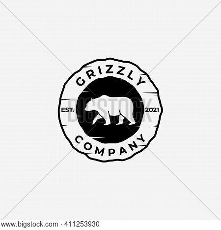 Emblem Vintage Walking Bear Hunter Logo Vector Design Illustration, Grizzly Bear, Polar Bear, Black