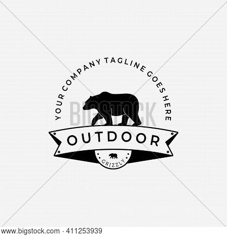 Walking Bear Hunter Logo Vector Design Illustration Vintage, Grizzly Bear, Polar Bear, Black Bear