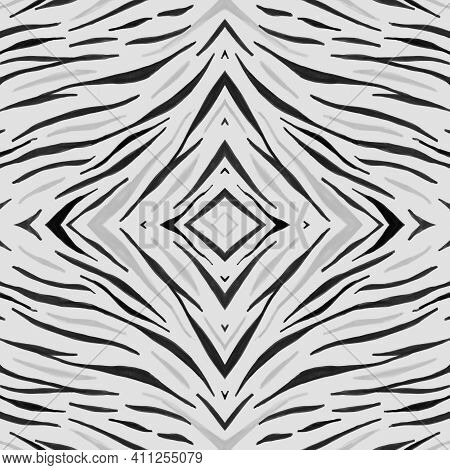 Seamless Zebra Pattern. Camouflage Africa Skin. White Fashion Zoo Wallpaper. Safari Stripe Fabric. Z