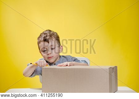 Surprised Boy Looking Opening A Box And Gasping In Surprise Seeing The Content Of The Box While Reco