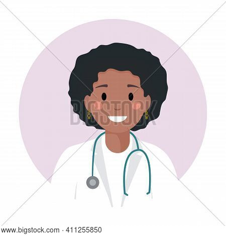 Black Young Woman Doctor Or Nurse In Medical White Coat With Glasses And Stethoscope. African Americ