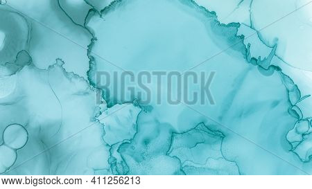Contemporary Wave Background. Teal Pastel Fluid Water. Blue Smoke Fashion Abstraction. Watercolor Co