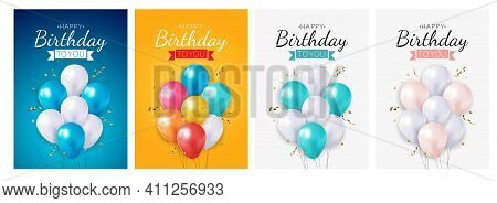 Realistic 3D Balloon Birthday Background For Party, Holiday, Promotion Card, Poster Collection Set.