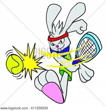 Rabbit Doing Tennis Smash. Doodle Icon Image. Cartoon Caharacter Cute Doodle Draw