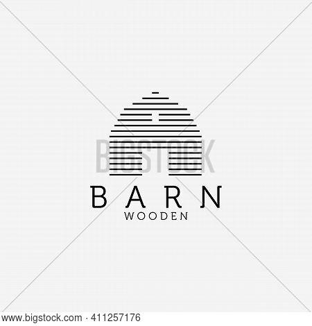 Wooden Barn Line Art Logo Vector Design Illustration, Barn House Icon, Agriculture, Livestock Compan