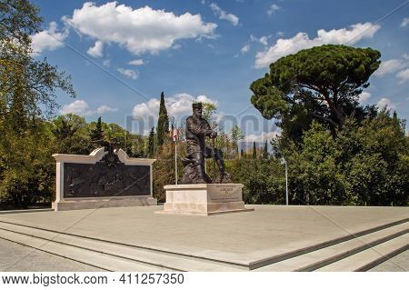 Livadia, Crimea, Russia - April 30, 2019: Monument To The Peacemaker Tsar Alexander Iii In The Park