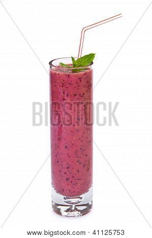 Berries and apple juice isolated over white background poster