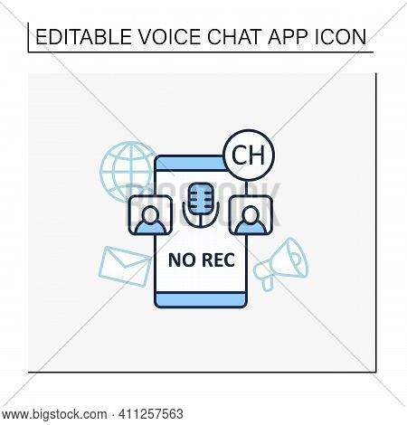 Unrecorded Conversation Line Icon. Private Dialogue. Conversations Are Not Recorded. Communication C