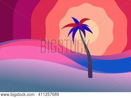 Sunrise Or Sunset In Sea. Ocean Nature Landscape Background. Sand Beach With Palm Tree, Blue And Vil