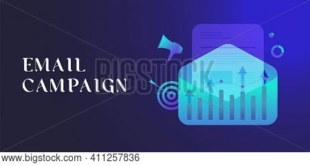 Email Marketing Campaign, Digital Lead Generation Concept. Personalized Emails With Social Media Fol