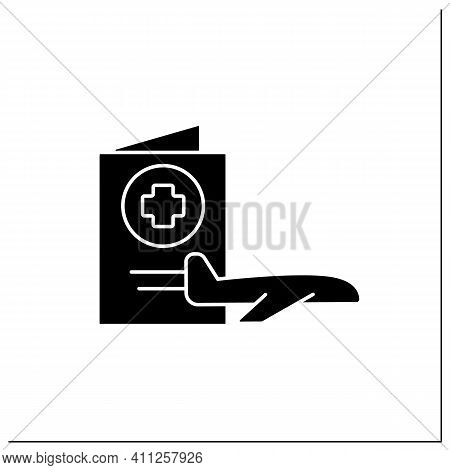 Health Passport Glyph Icon.necessary Document About Health Status For Travel. Safe Plane Trip. Fly P