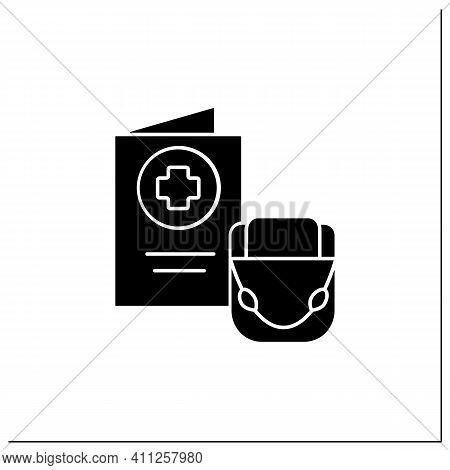 Health Passport Glyph Icon. Necessary Document About Health Status For Travel. Vaccinated Card.surel