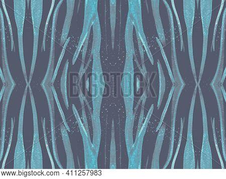 Seamless Animal Fur Texture. Watercolor African Pattern. Gray Fashion Wild Wallpaper. Tiger Stripe R
