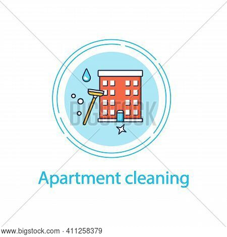 Apartment Cleaning Concept Line Icon. Sweeping Process In Flats, Including Washing Floor And Wiping