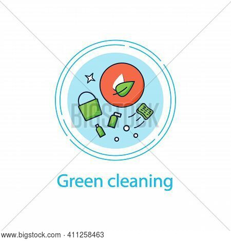 Green Cleaning Concept Line Icon. Ecological Products. Without Chemicals. Zero Waste Products, Envir