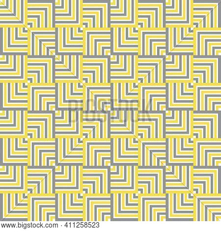 Colors Of Year 2021 Illuminating Yellow And Ultimate Gray Abstract Geometric Vector Seamless Pattern