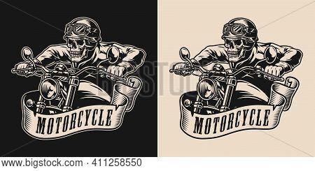 Motorcycle Vintage Monochrome Emblem With Skeleton Biker Riding Motorbike Isolated Vector Illustrati