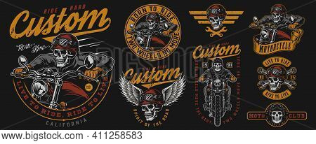 Vintage Colorful Motorcycle Emblems Set With Inscriptions Wrenches Skeleton Biker Riding Motorbike S