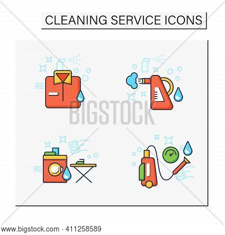 Cleaning Services Color Icons Set.consists Of Dry Cleaning, Laundry, Steaming, Pressure Washing. Cle