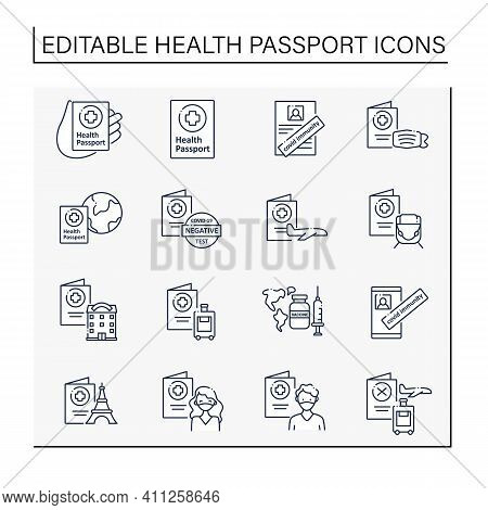 Health Passport Line Icons Set.necessary Document.information About Health Status. Covid Passport Co